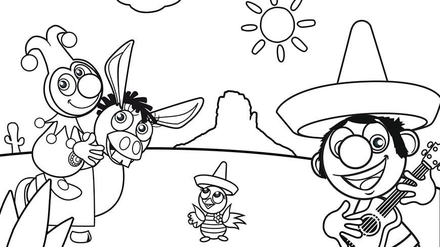 Ausmalbild Von Jokie Und Jet In Mexiko Efteling Kids