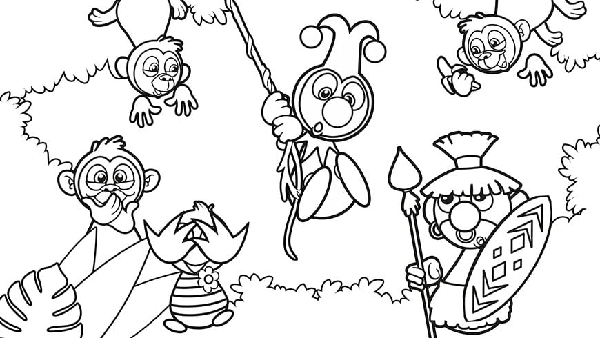 Colouring Picture Of Jokie And Jet In Africa Efteling Kids