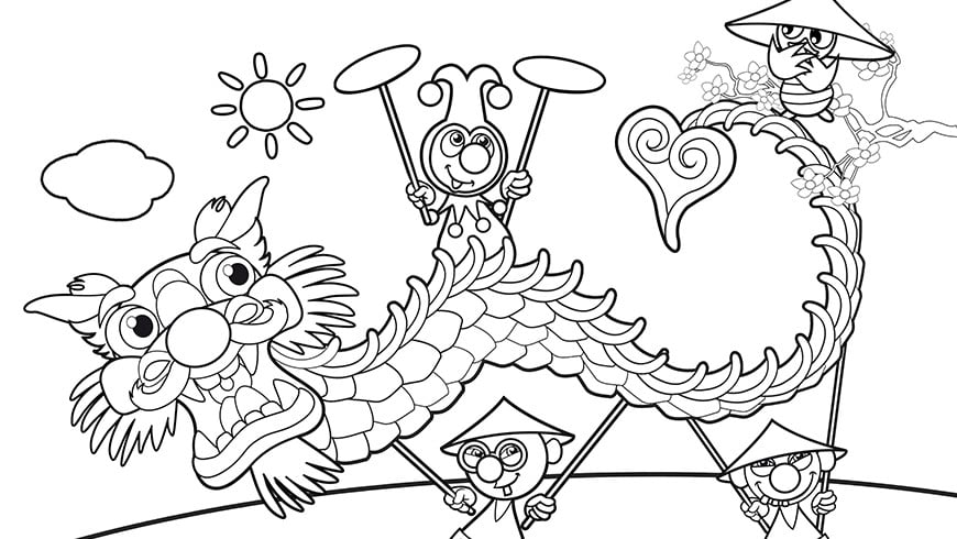 colouring picture of jokie and jet in china efteling