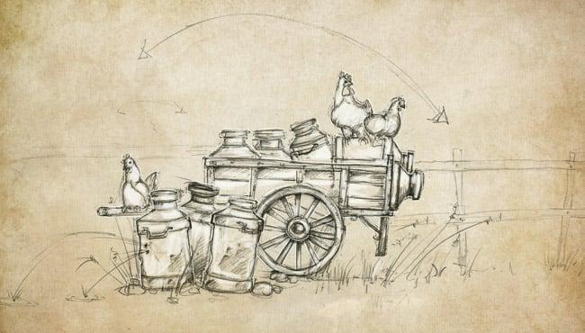 Schets van nieuwe interactieve scène met een melkkar Tuffer bij De Oude Tufferbaan.