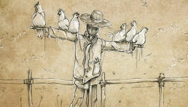 Schets van nieuwe interactieve scène met een vogelverschrikker bij De Oude Tufferbaan.