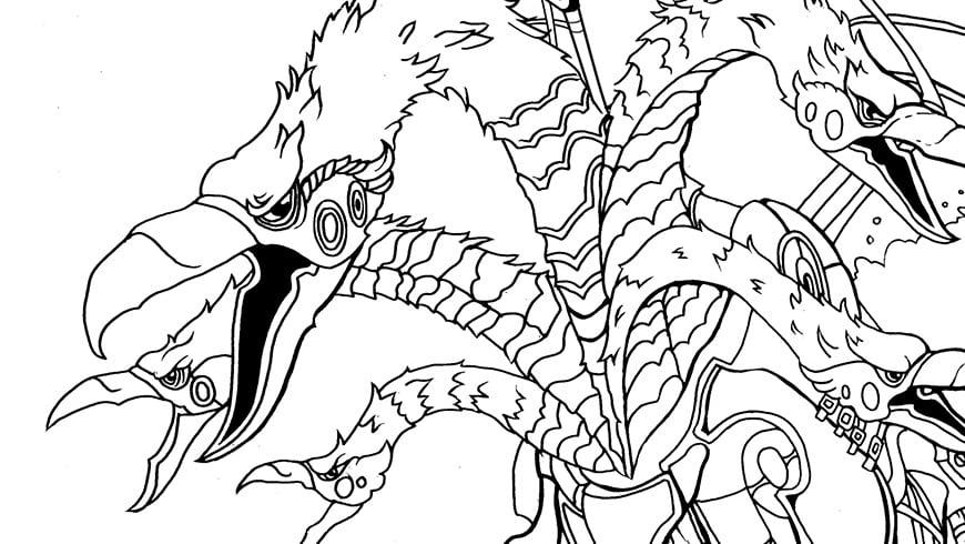 kleurplaat draconicon uit raveleijn efteling